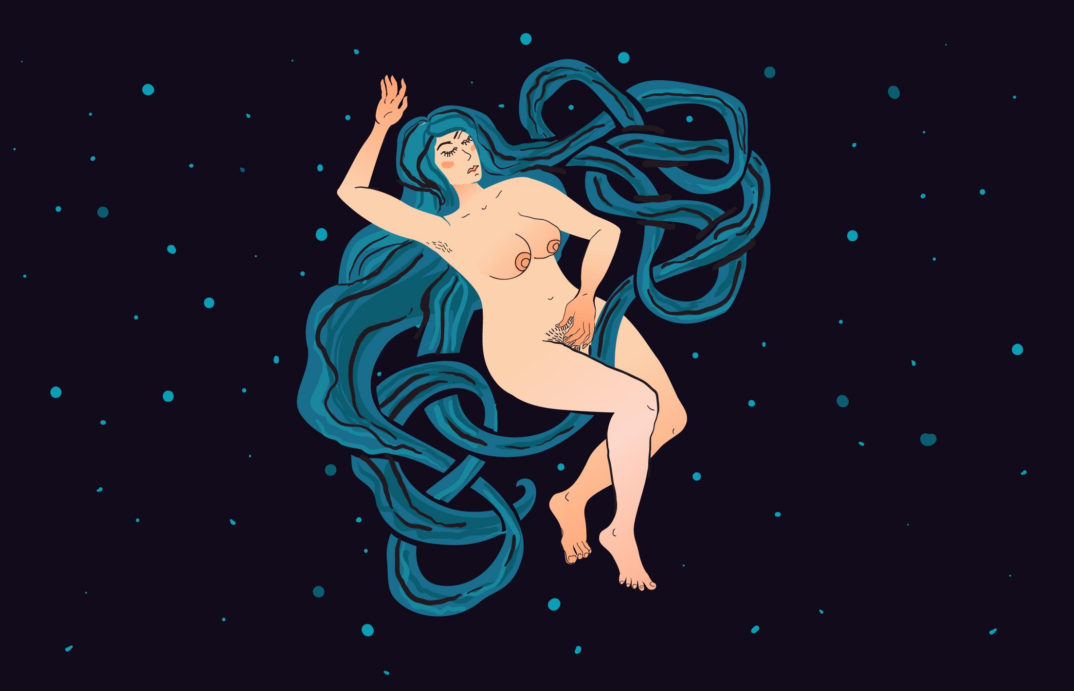 Мастурбирующая женщина в пространстве